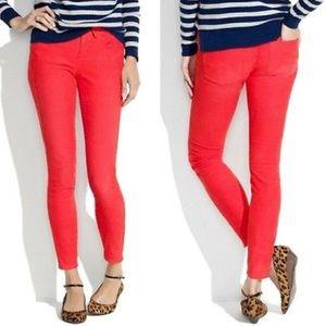 Madewell Coral Red Skinny Corduroy Pants